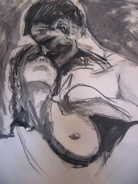Student Artwork - The Art Studio NY - a drawing of two figures a man and a woman embracing from drawing class