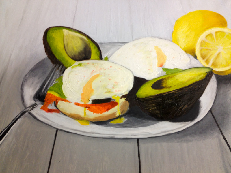 Student Artwork - The Art Studio NY - still life with fruit and bowl painting