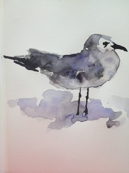Watercolor - The Art Studio NY - painting of shore bird, ,plover in grey tones watercolor wash technique