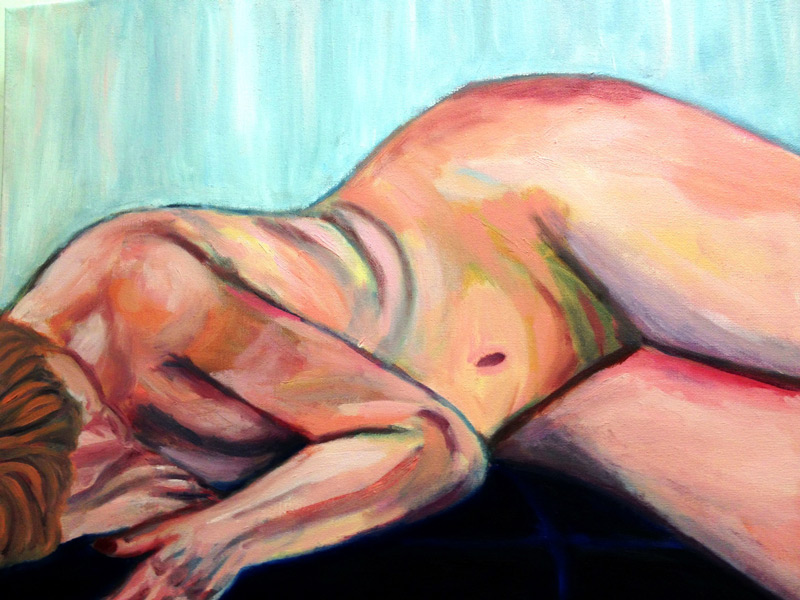 Figure Painting - The Art Studio NY - woman figure model laying down