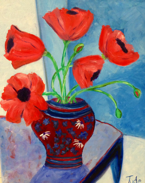 Flower - The Art Studio NY - still life painting by beginner art class flowers in a vase