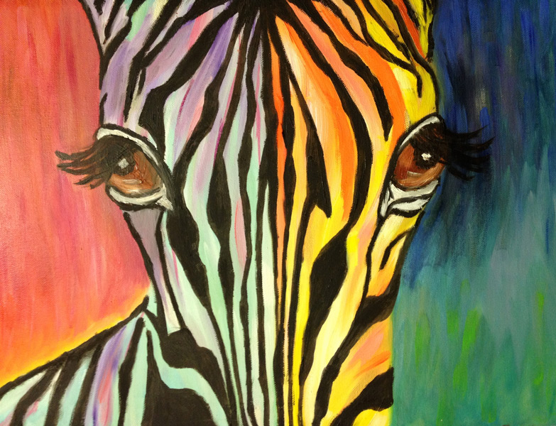 Student Artwork - The Art Studio NY - zebra staring at you