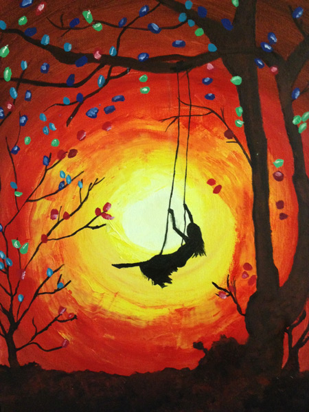 Student Artwork - The Art Studio NY - dramatic composition of sun and shadow with child in swing painting by student at the art studio on the UWS