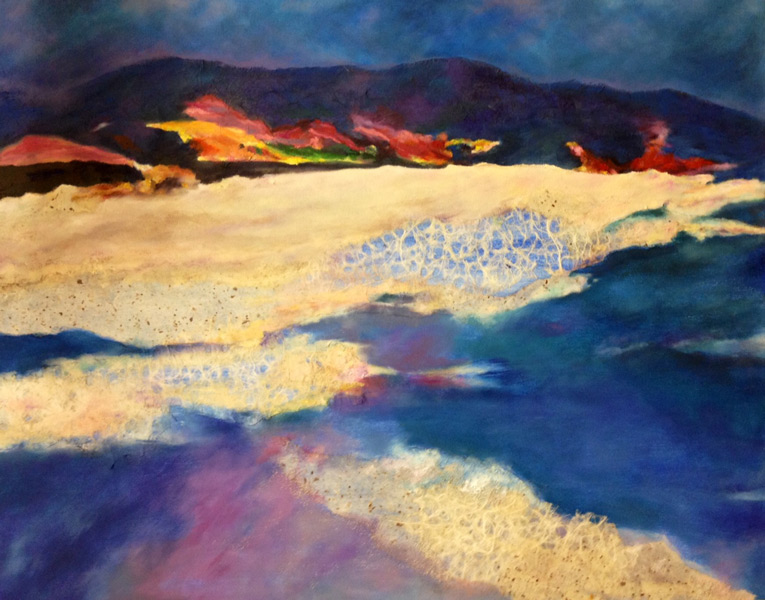 Vivian mixed media landscape - The Art Studio NY  - bright and vibrant colors show the drama of a beach by intermediate artist