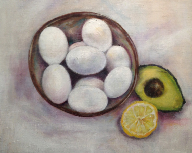 Vivian Firger Still Life - The Art Studio NY - Still life with Eggs, Avocado, and Lemon