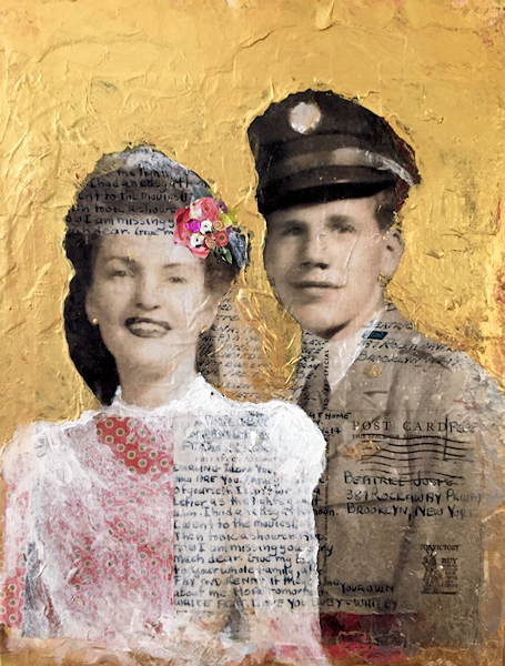 Student Artwork - The Art Studio NY - mixed media man and woman from photograph composition art lesson