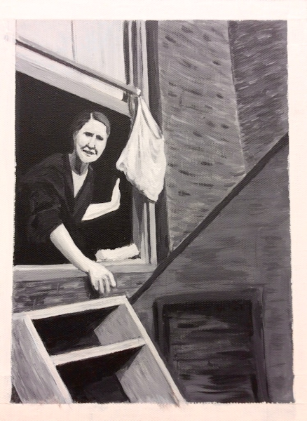 Student Artwork - The Art Studio NY - charcoal drawing of woman at window