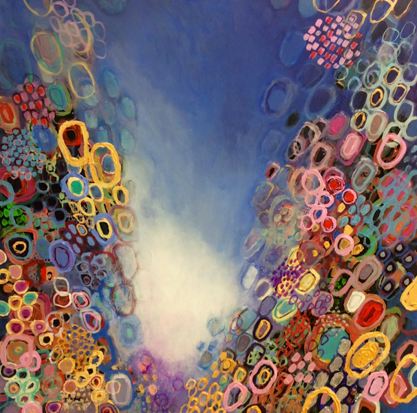 Student Artwork - The Art Studio NY - abstract circles in oil painting for beginner's class